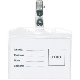 portabadge con clip nichelata Pass cm 9,5×8